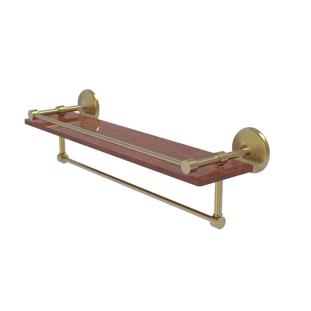 Allied Brass Monte Carlo Collection 22 in. IPE Ironwood Shelf with Gallery Rail and Towel Bar in Satin Brass