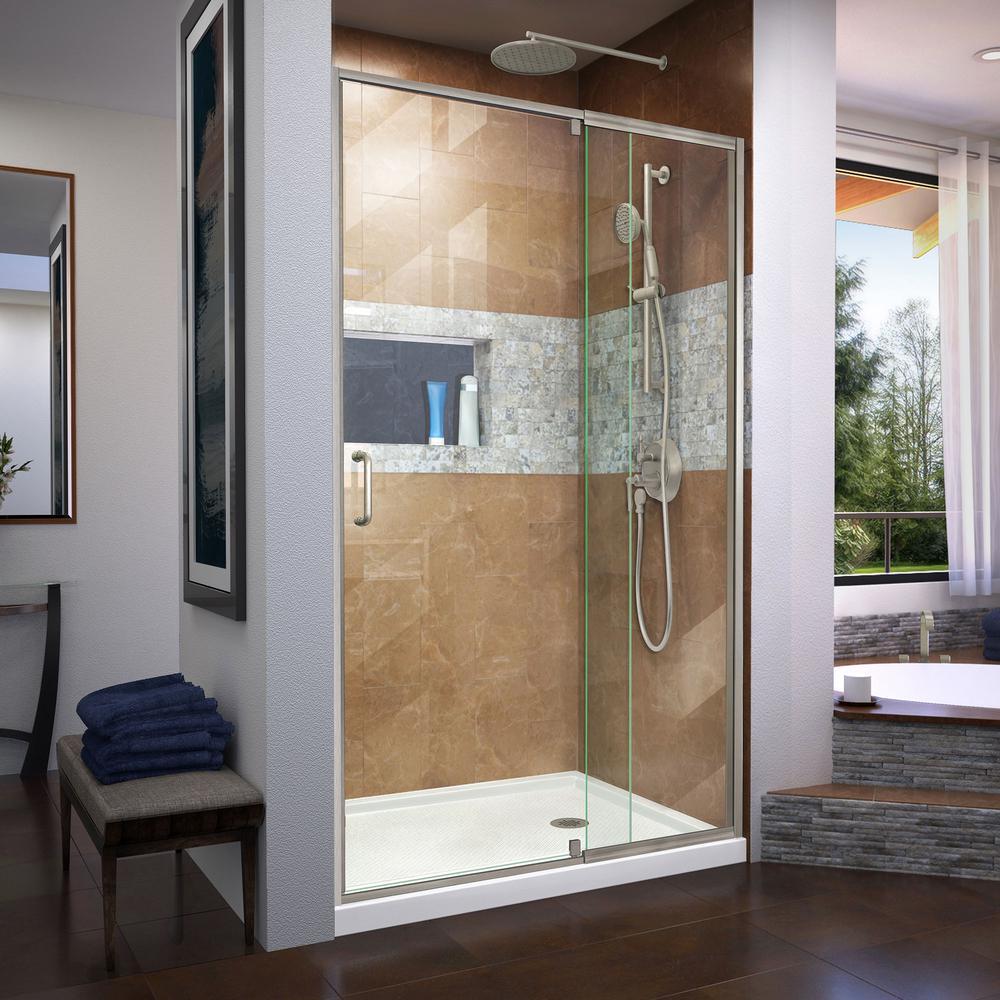 Flex 38-42 in. W x 72 in. H Semi-Frameless Pivot Shower Door in Brushed Nickel
