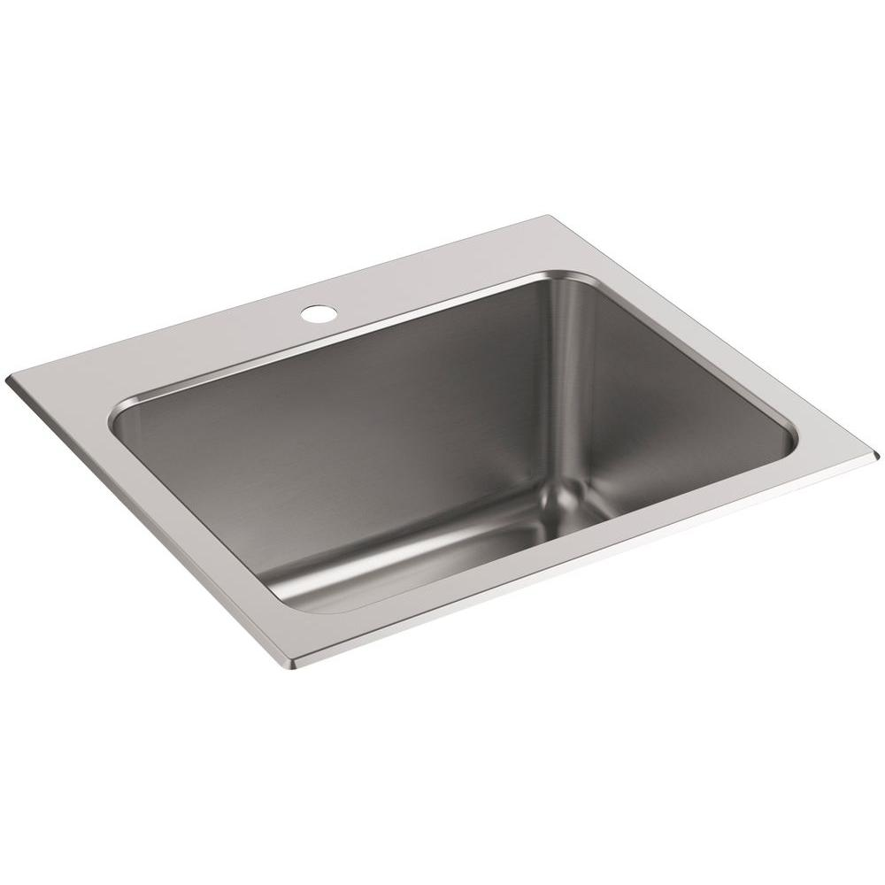 KOHLER Ballad 22 in. x 25 in. Stainless Steel Single Hole Utility