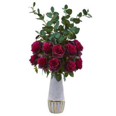 26 in. Rose and Eucalyptus Artificial Arrangement in Stoneware Vase with Gold Trimming