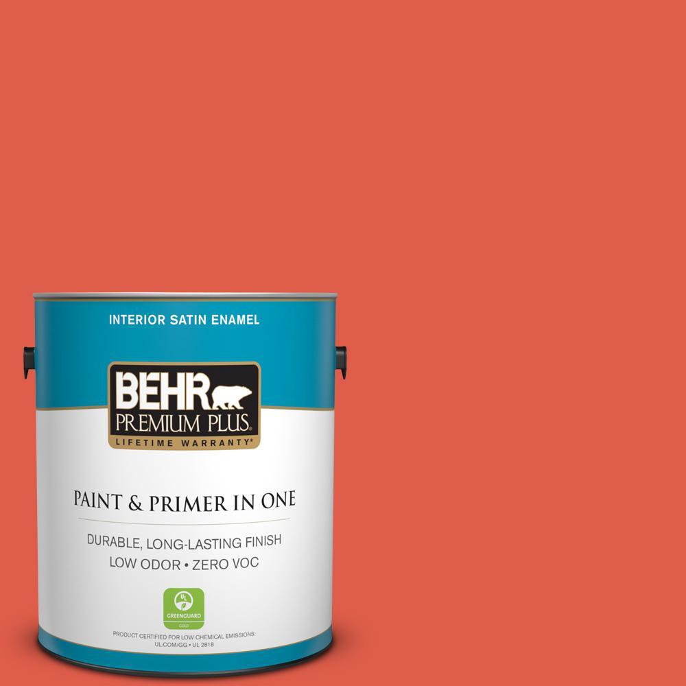 1 gal. #P180-6 Pimento Satin Enamel Zero VOC Interior Paint and