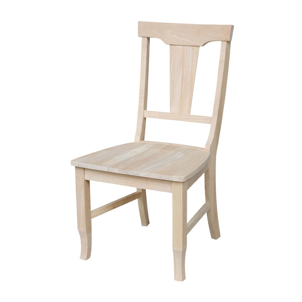 International Concepts Unfinished Wood Panel Back Side Chair (Set of 2)