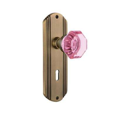 Deco Plate with Keyhole 2-3/8 in. Backset Antique Brass Privacy Waldorf Pink Door Knob
