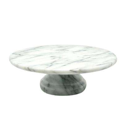 10 in. x 10 in. x 3.125 in. Cake Plate on Pedestal in White Marble