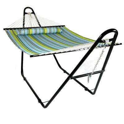 11-3/4 ft. Quilted 2-Person Hammock with Multi-Use Universal Stand in Blue and Green