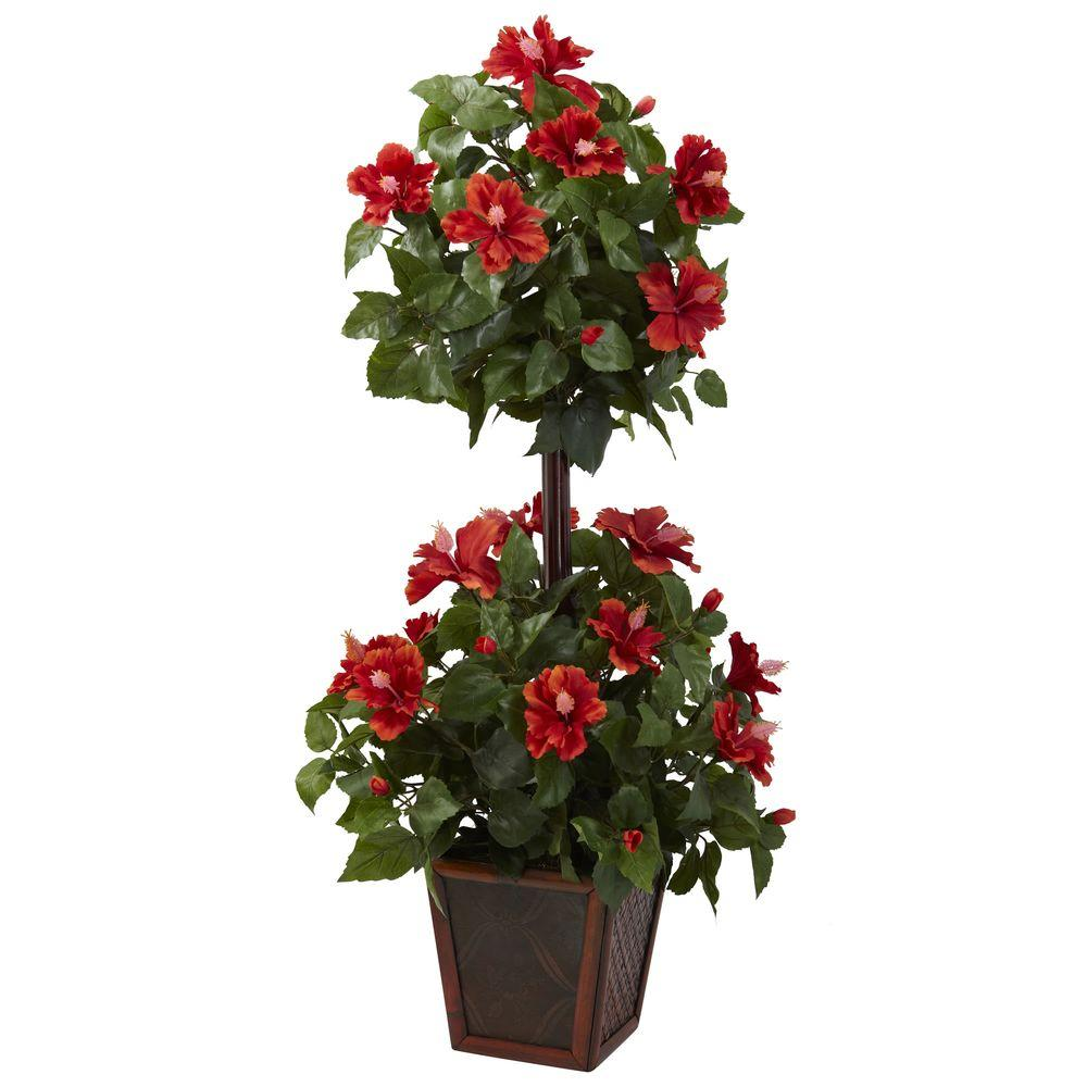 Nearly Natural 39 In Hibiscus Topiary 6726 The Home Depot