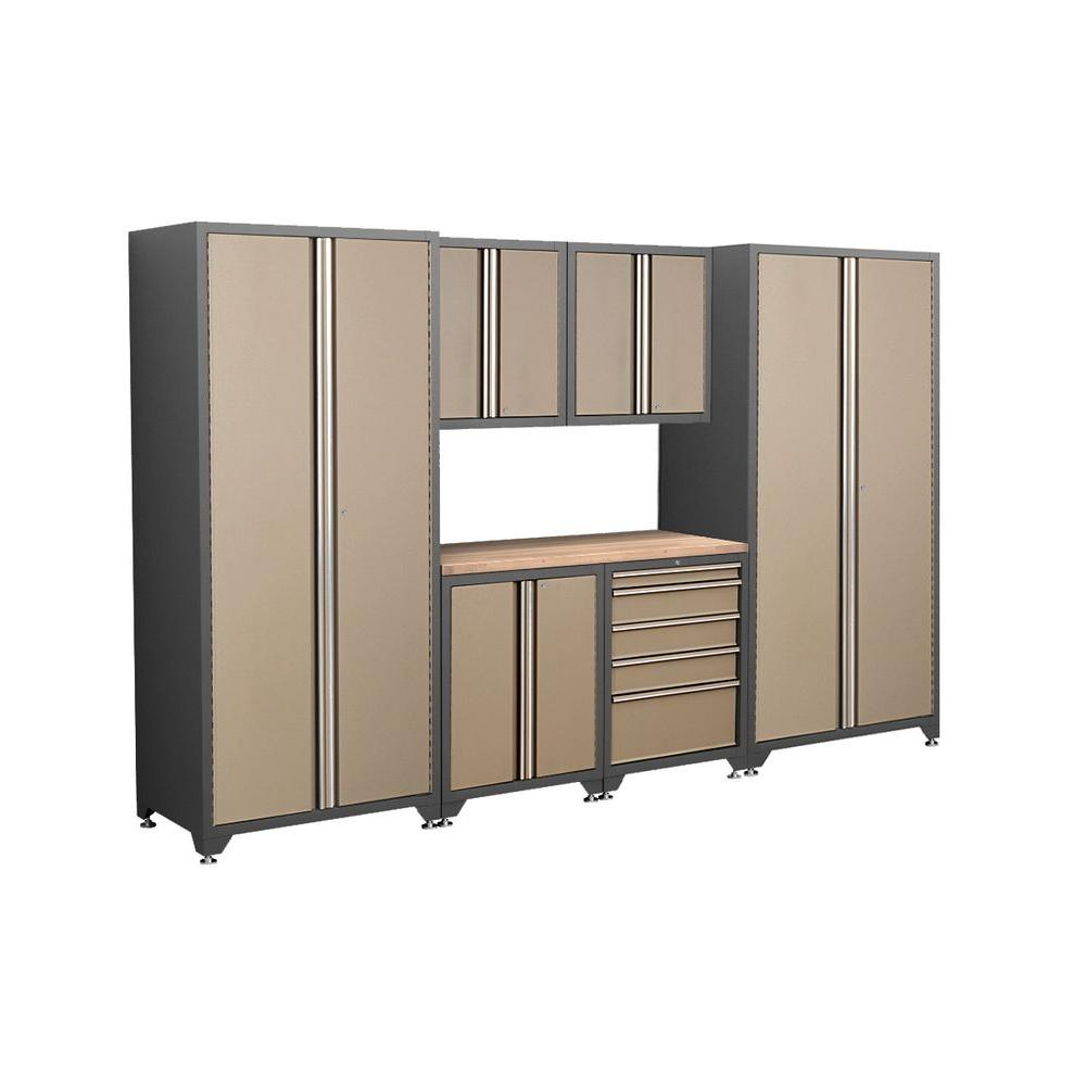 NewAge Products Pro Series 83 in. H x 128 in. W x 24 in. D Welded Steel Cabinet Set in Taupe (7-Piece)