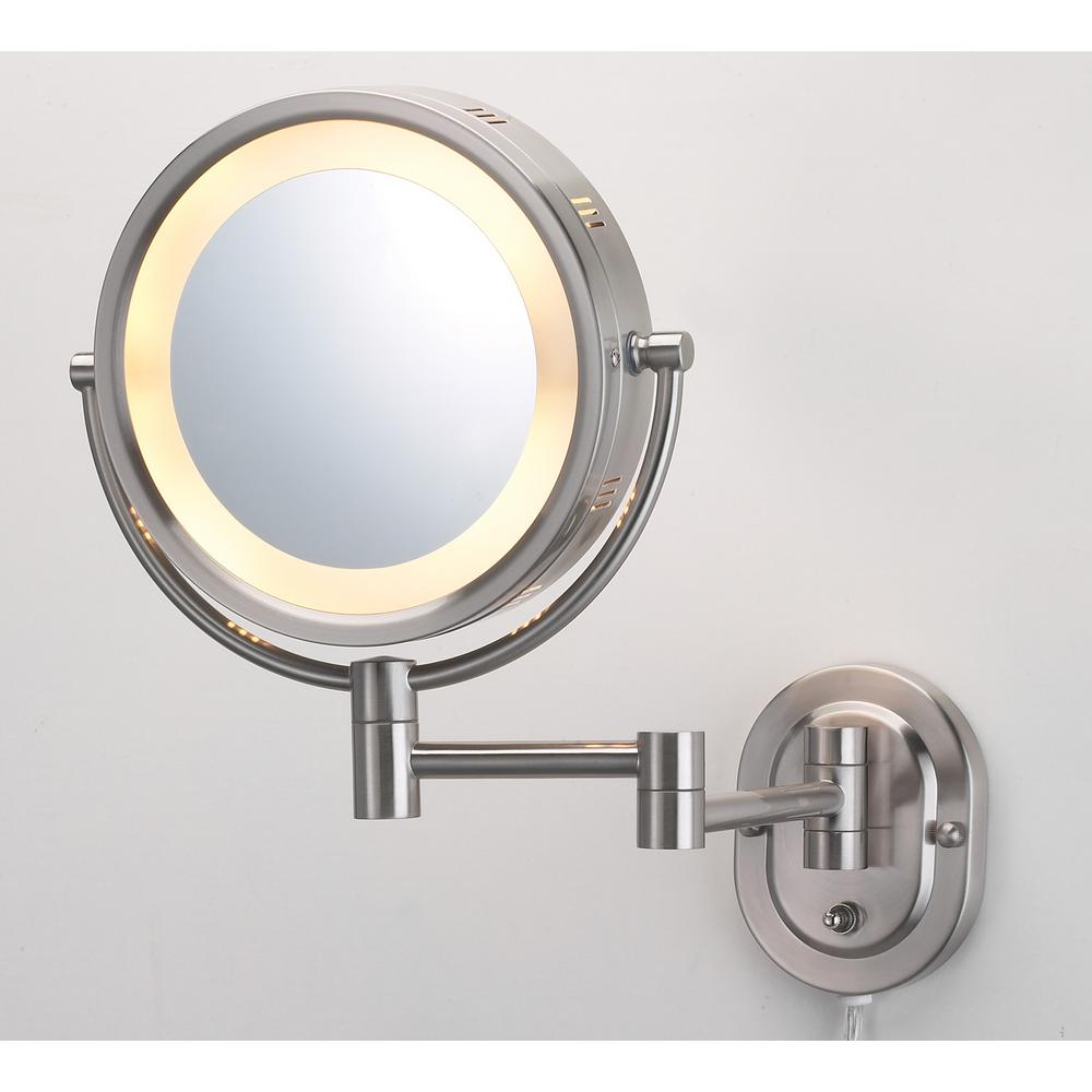 10 in. x 14 in. Lighted Wall Mirror in Nickel