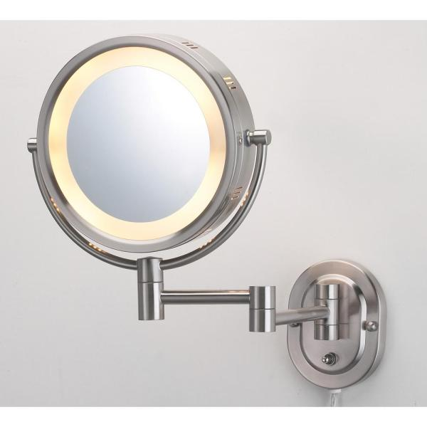 10 in. x 14 in. Lighted Wall Makeup Mirror in Nickel