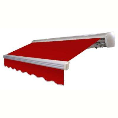 12 ft. LX-Destin with Hood Left Motor/Remote Retractable Acrylic Awning (120 in. Projection) in Red