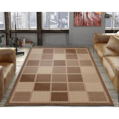Jardin Collection Contemporary Boxes Design Brown 5 ft. x 7 ft. Outdoor Area Rug