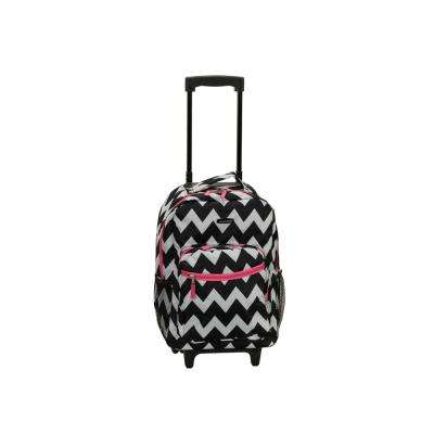 17 in. Pinkchevron Rolling Backpack
