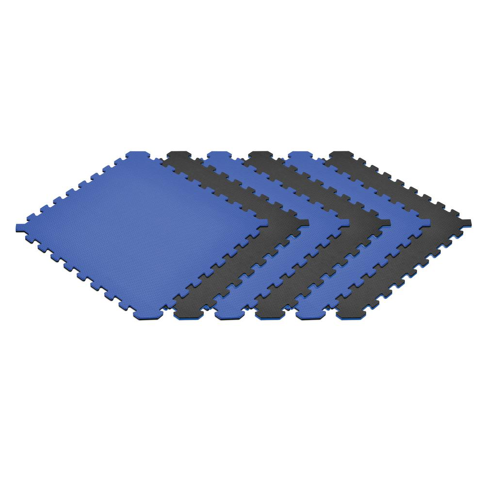 Black/Blue 24 in. x 24 in. x 0.51 in. Foam Interlocking