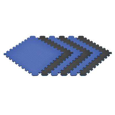 Blue/Black 24 in. x 24 in. EVA Foam Truly Reversible Interlocking Tile (54-Tile)