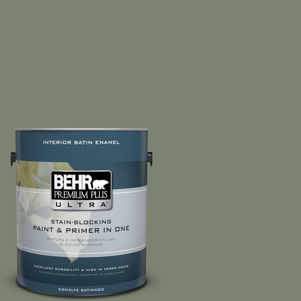 Behr Premium Plus Ultra 1 Gal Icc 77 Sage Green Satin Enamel Interior