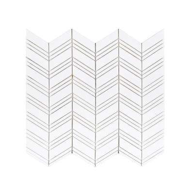 Crystal Canyon White Chevron 12.875 in. x 9.875 in. x 8 mm Natural Stone Mosaic Floor and Wall Tile