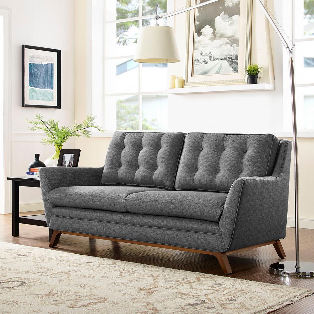 Beguile Gray Upholstered Fabric Loveseat