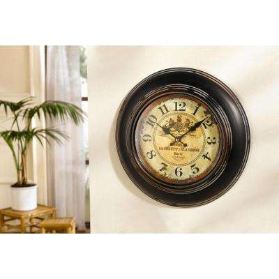 13.25 in. Round Brown Antique Reproduction Paris Perfumers Wall Clock