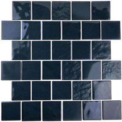Landscape Swamp Black Linear Mosaic 2 in. x 2 in. Textured Glass Wall Pool and Floor Tile (1.04 Sq. ft.)