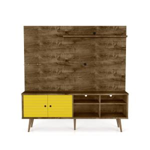 Liberty 70.87 in. Rustic Brown and Yellow Freestanding Entertainment Center