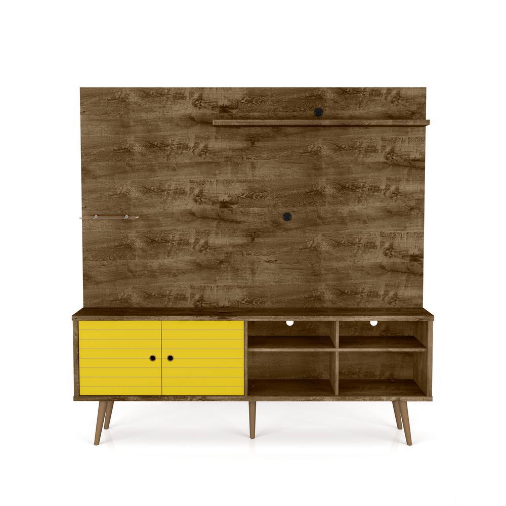 Manhattan Comfort Liberty 70.87 in. Rustic Brown and Yellow Freestanding