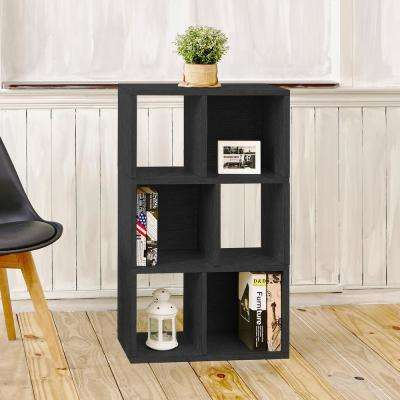 Laguna 3-Shelf 12 x 22.8 x 36.8 zBoard  Bookcase, Tool-Free Assembly Cubby Storage in Black Wood Grain