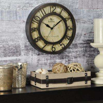 8 in. x 8 in. Round Bronze Raised Number Wall Clock