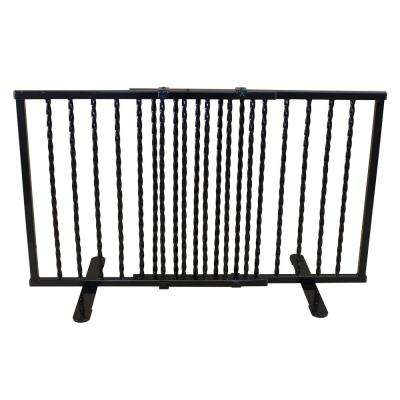 Wrought Iron Step Over Freestanding Pet Gate 24 in. to 41.25 in. Black