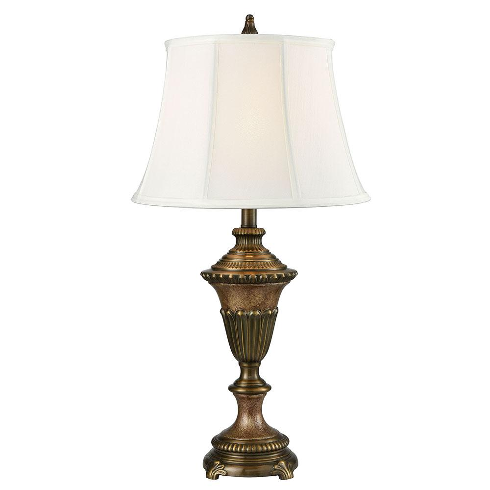 Springdale Ligthing Ethana 28.5 in. Multi Bronze Table lamp with Fabric Shade