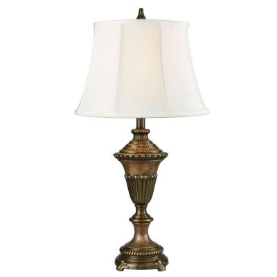 Ethana 28.5 in. Multi Bronze Table lamp with Fabric Shade