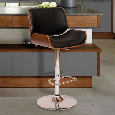 London 37-46 in. Black Faux Leather and Chrome Finish Swivel Barstool