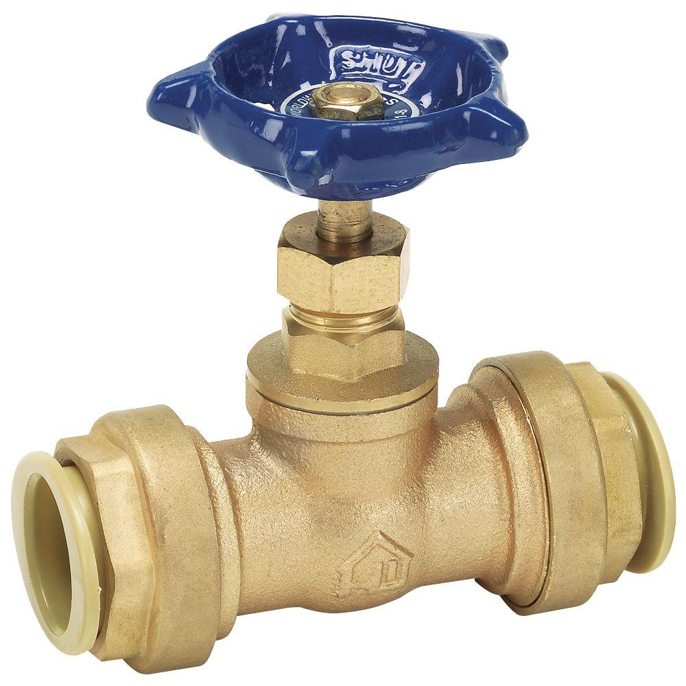 3/4 in. Brass Stop Valve with Push-Fit Connections No Lead