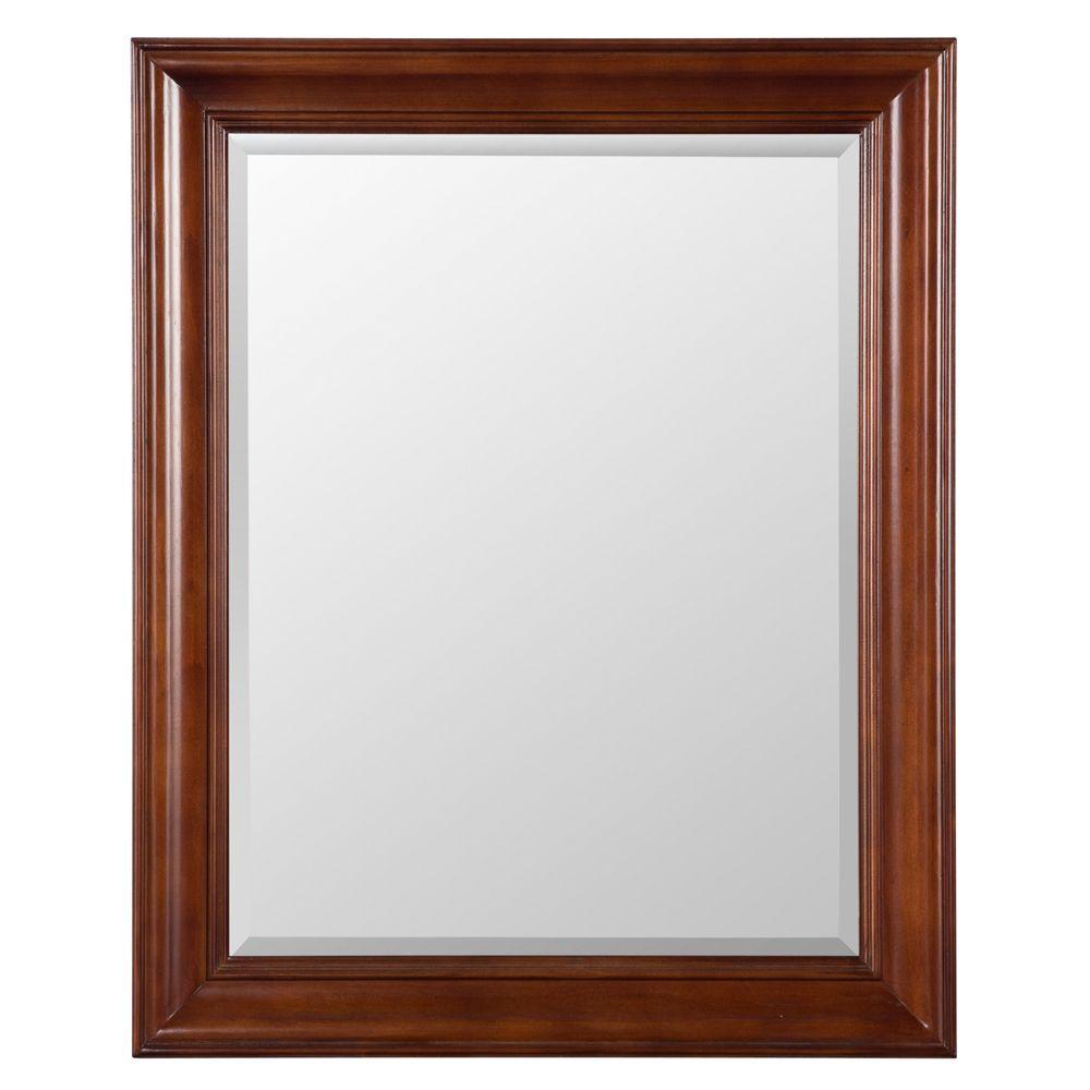 Brexley 32 in. x 26 in. Framed Wall Mirror in Warm Chestnut