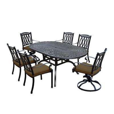 Morocco Aluminum 7-Piece Outdoor Dining Set with Sunbrella Brown Cushions