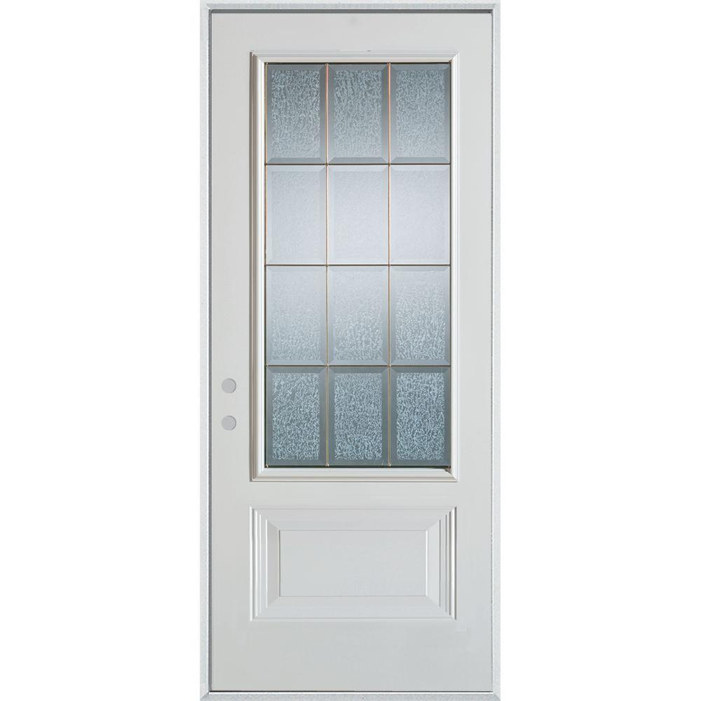 Stanley Doors 36 in. x 80 in. Geometric Clear and Brass 3/4 Lite 1-Panel Painted White Right-Hand Inswing Steel Prehung Front Door