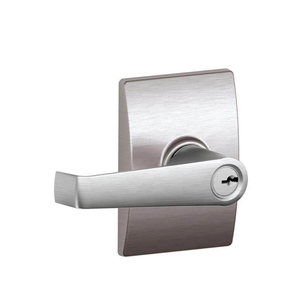 Elan Satin Chrome Keyed Entry Door Lever with Century Trim