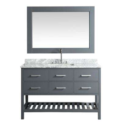 London Stanmark 54 in. W x 22 in. D Vanity in Gray with Marble Vanity Top in Carrera White with White Basin and Mirror