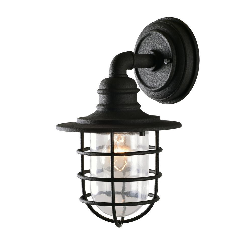 Eli 1-Light Black Outdoor Wall Mount Lantern