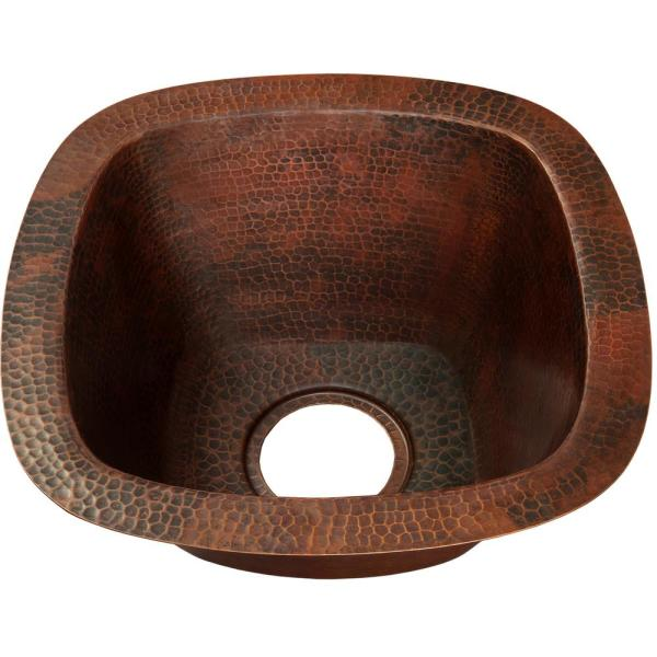 San Salvador Dual Mount Copper 15 in. Single Bowl Bar Sink in Hammered Antique Finish