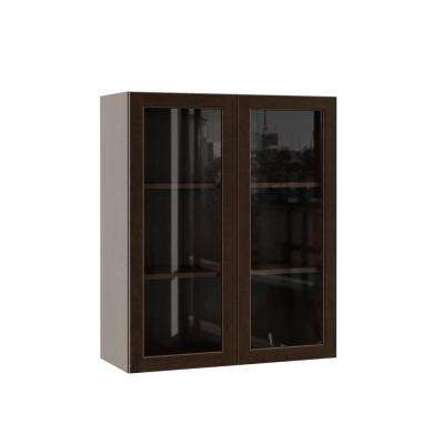 Gretna Assembled 30x36x12 in. Wall Kitchen Cabinet with Glass Doors in Espresso