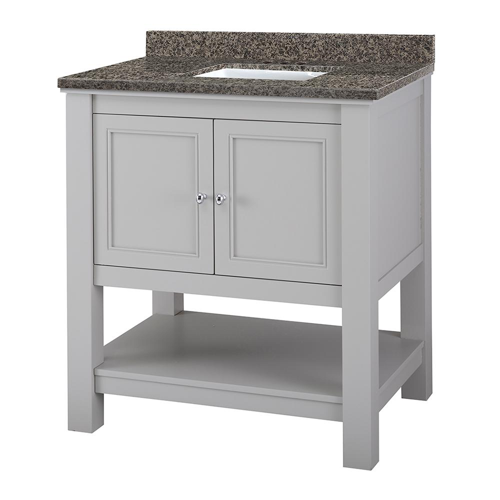 Home Decorators Collection Gazette 31 in. W x 22 in. D Vanity in Grey with Granite Vanity Top in Sircolo with White Sink was $799.0 now $559.3 (30.0% off)