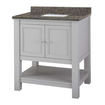 Gazette 31 in. W x 22 in. D Vanity in Grey with Granite Vanity Top in Sircolo with White Sink