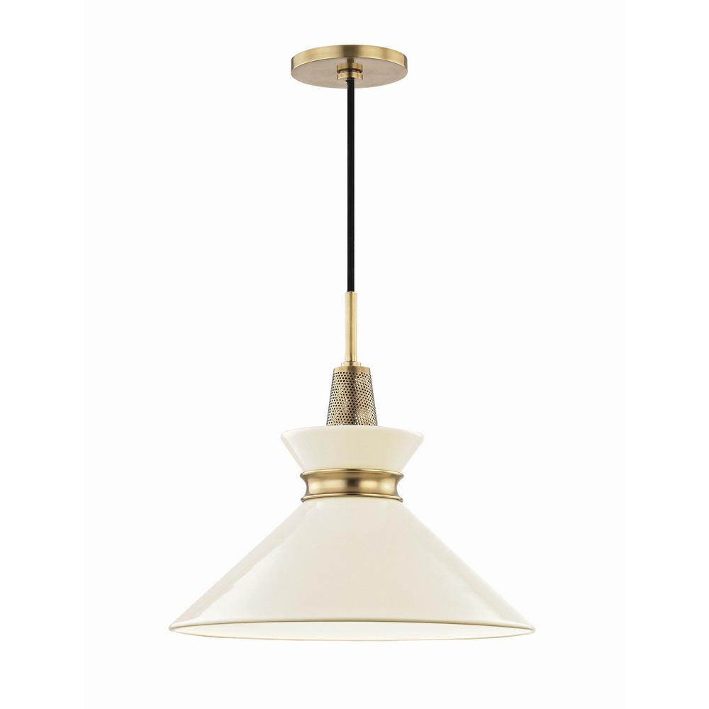 Mitzi By Hudson Valley Lighting Kiki 1 Light 14 In W Aged Br Pendant With Cream Shade