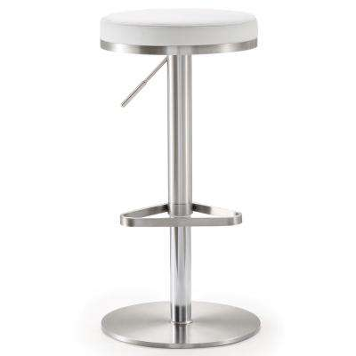 Fano 32 in. White and Silver Steel Adjustable Barstool