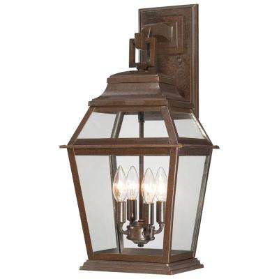Crossroads Point 4-Light 23.5 in. Architectural Bronze Outdoor Wall Lantern Sconce