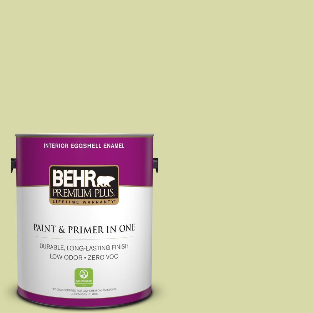 BEHR Premium Plus 1-gal. #410C-3 Celery Sprig Zero VOC Eggshell Enamel Interior Paint