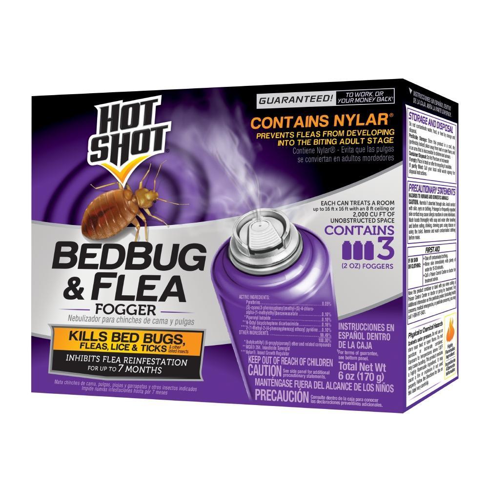 Hot Shot Bed Bug And Flea Killer 2 Oz Aerosol Fogger 3 Count Hg 95911 2 The Home Depot