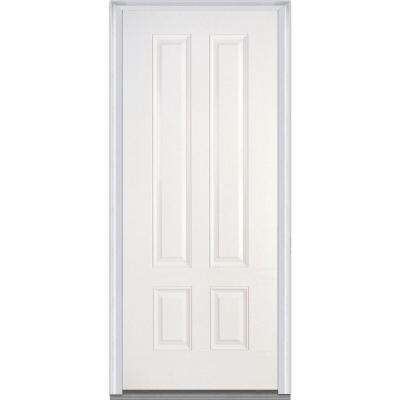 36 in. x 80 in. Severe Weather Right-Hand Outswing 4-Panel Primed Fiberglass Smooth Prehung Front Door