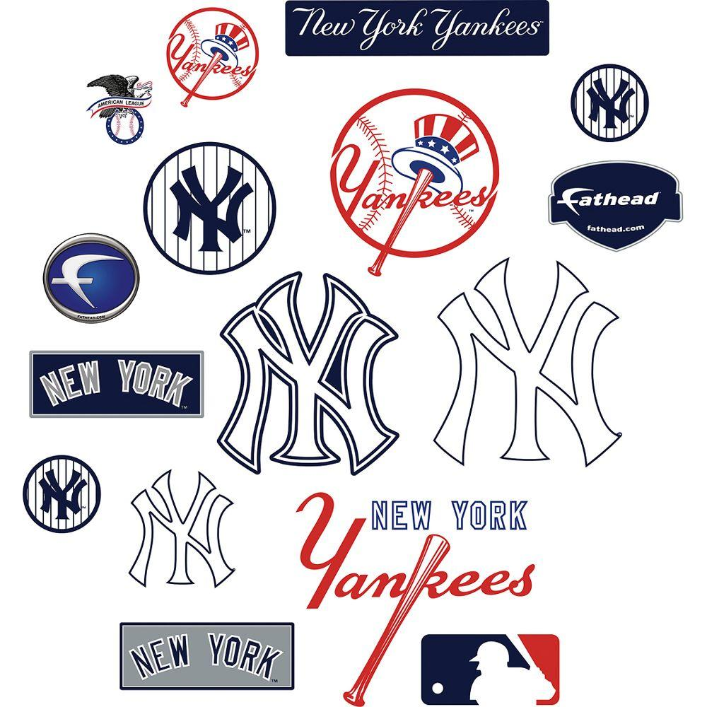 Fathead 40 in. x 27 in. New York Yankees Team Logo Assortment Wall Decal