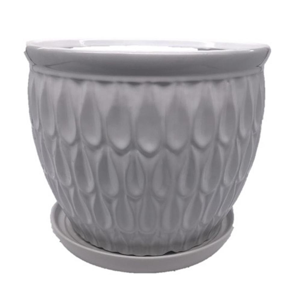 12.25 in. Off-white Raindrop Ceramic Cup Pot